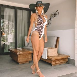 Leopard and white one piece swim suit